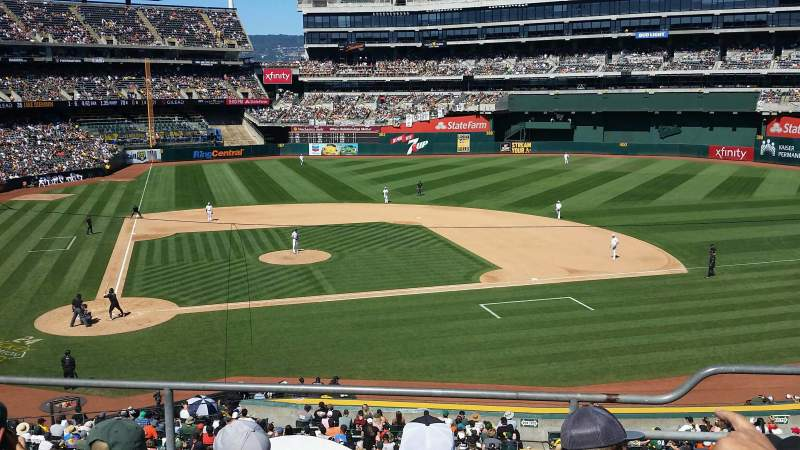 Seating view for Oakland Coliseum Section 214 Row 4 Seat 6