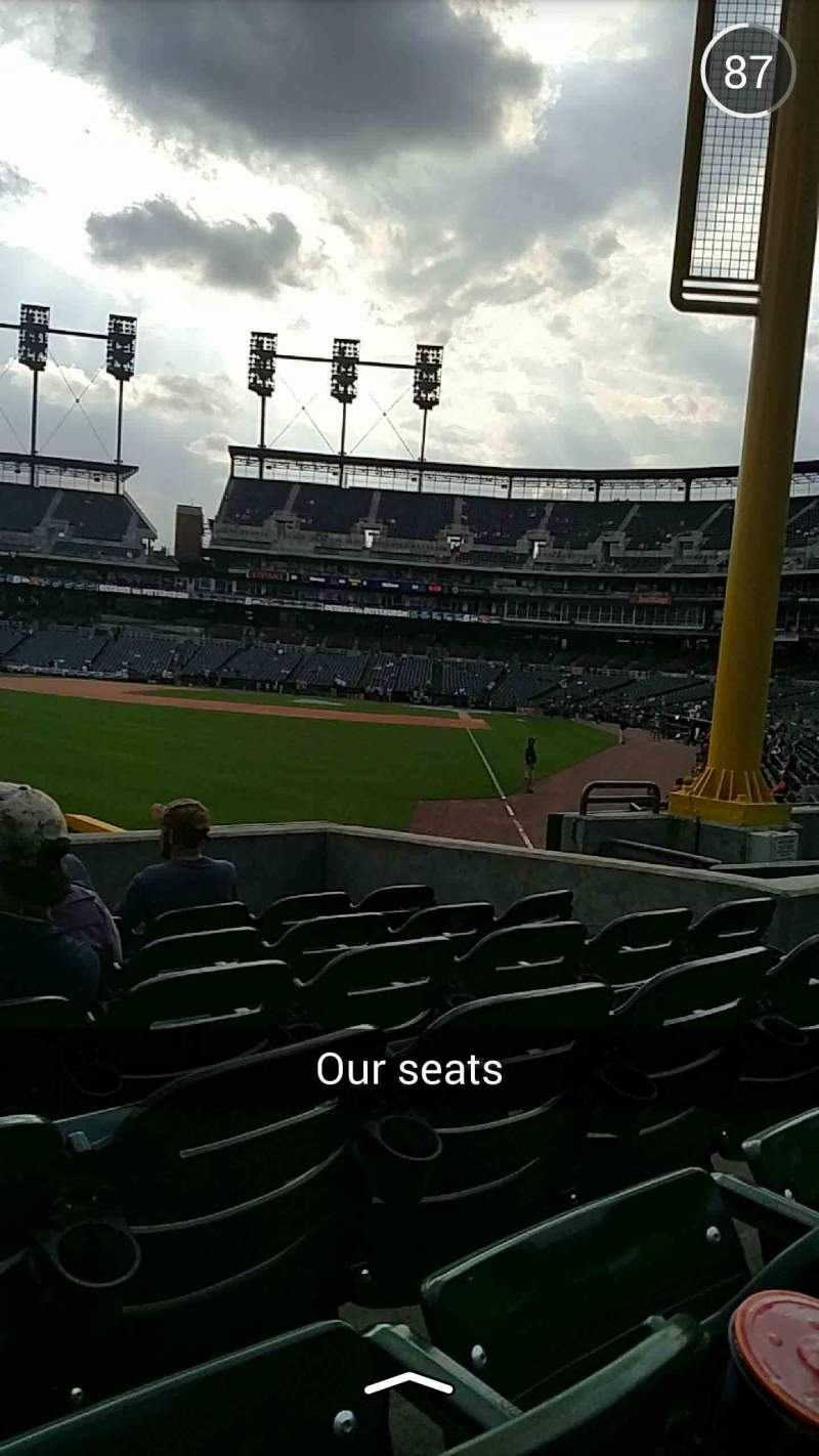 Seating view for Comerica Park Section 144 Row H Seat 11