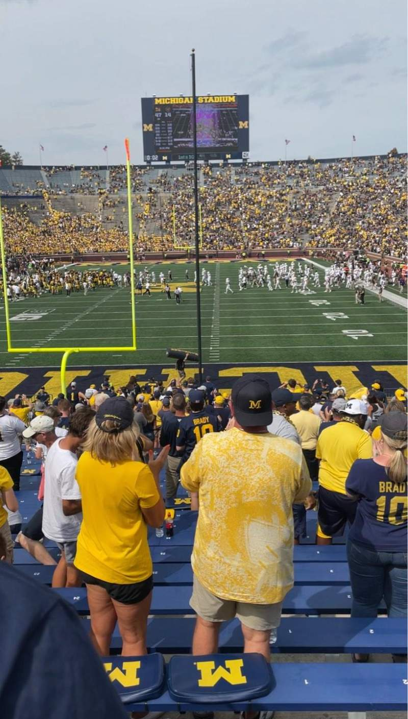 Seating view for Michigan Stadium Section 11 Row 34 Seat 1