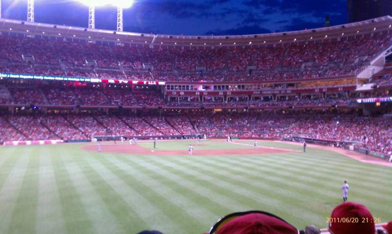 Seating view for Great American Ball Park Section 102 Row L  Seat 4