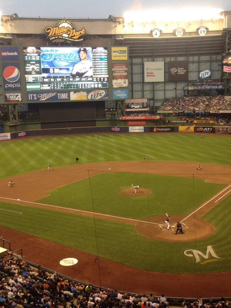 Seating view for Miller Park Section 332 Row 1 Seat 8