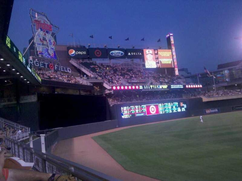 Seating view for Target Field Section 129 Row 1 Seat 22
