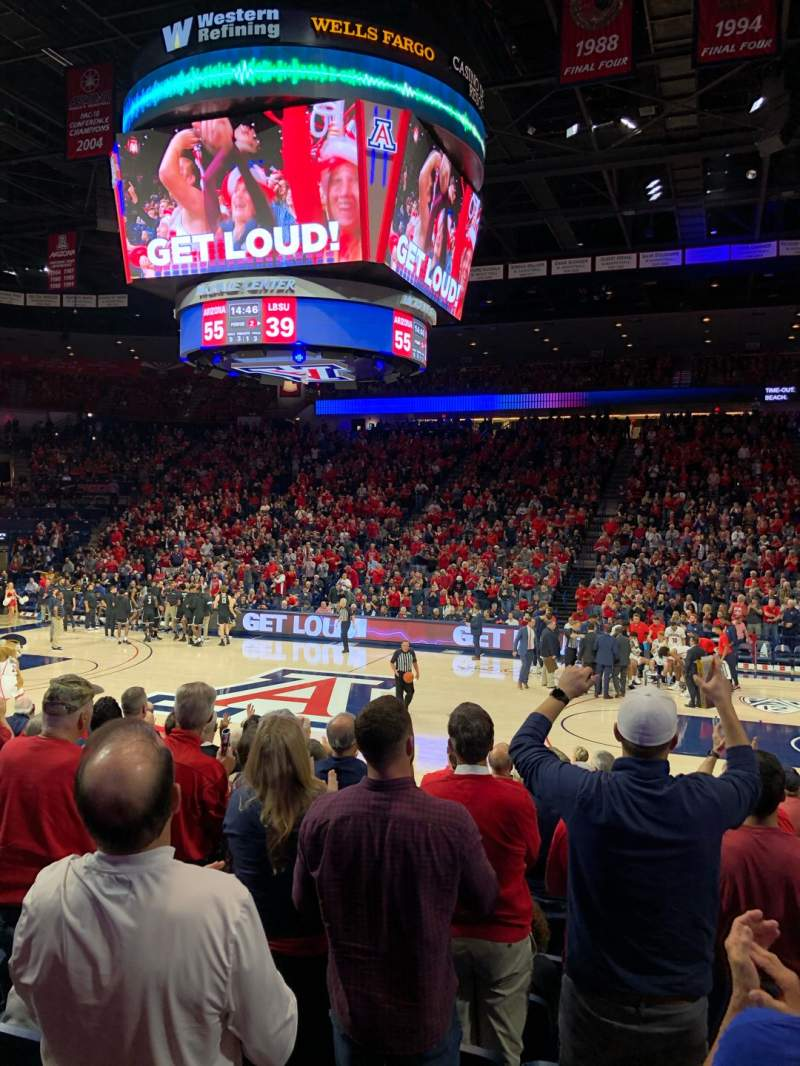 Seating view for McKale Center Section LO 14 Row 12 Seat 7