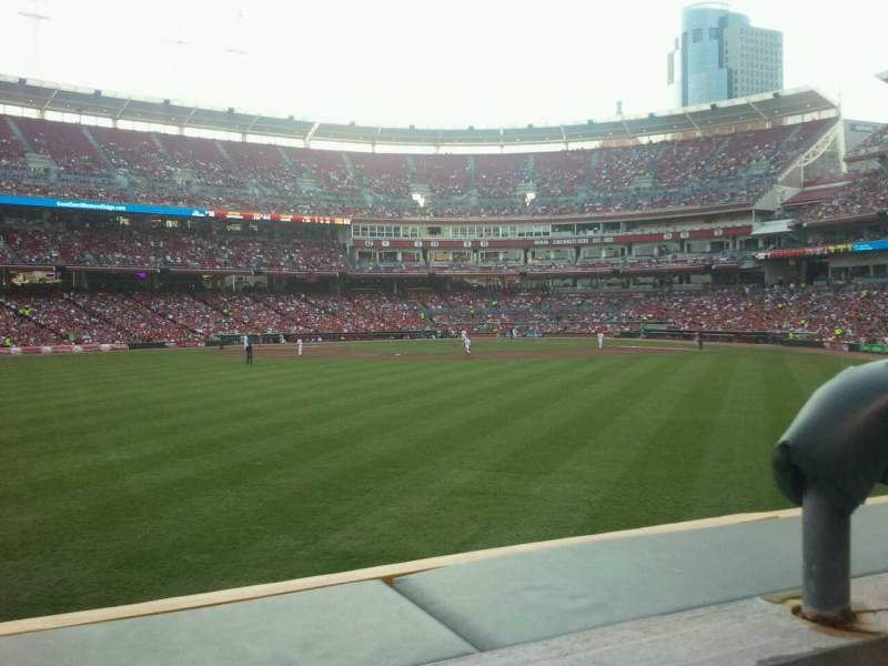 Seating view for Great American Ball Park Section 101 Row 1 Seat 2