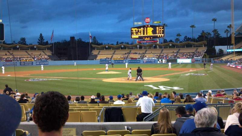 Seating view for Dodger Stadium Section Field box mvp 3 Row H Seat 8