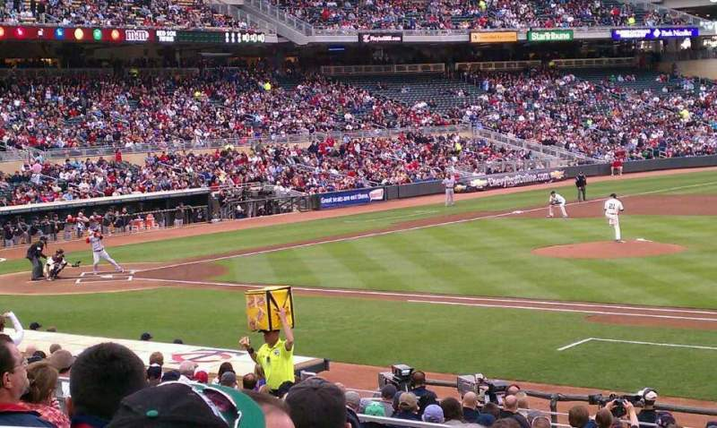 Seating view for Target Field Section 107 Row 7 Seat 10