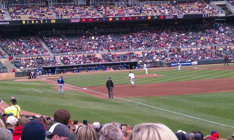 Seating view for Target Field Section 102 Row 18 Seat 21