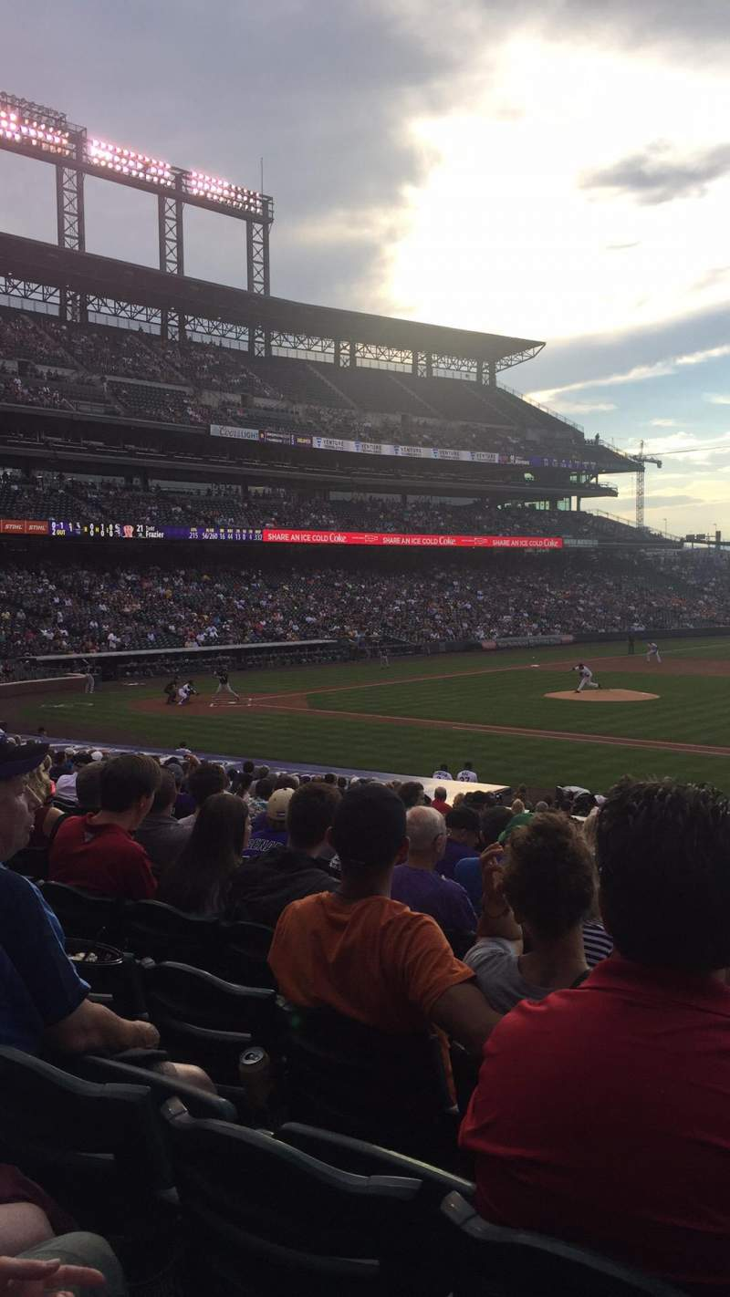 Seating view for Coors Field Section 121 Row 26 Seat 1