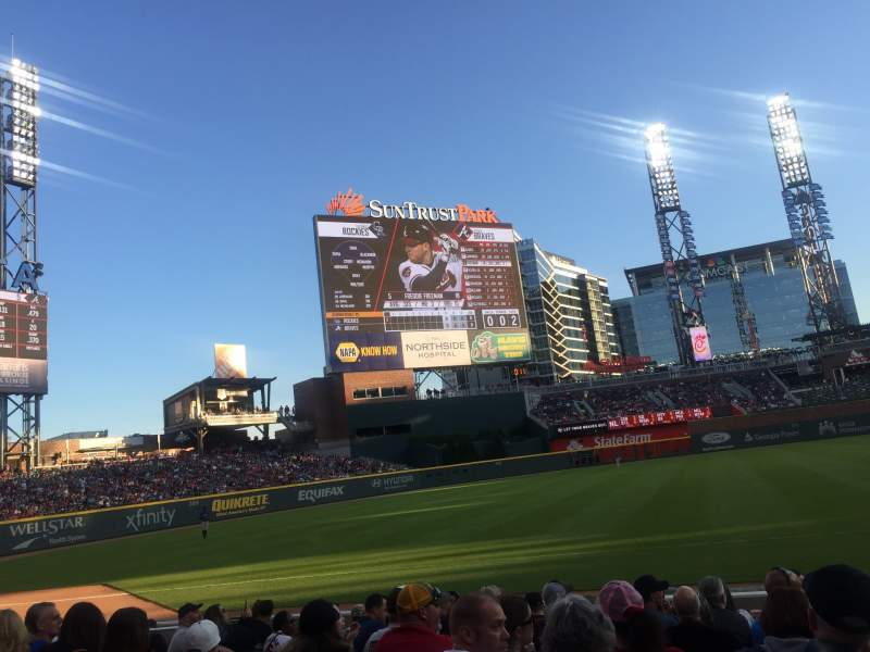 Seating view for SunTrust Park Section 38 Row 10 Seat 1