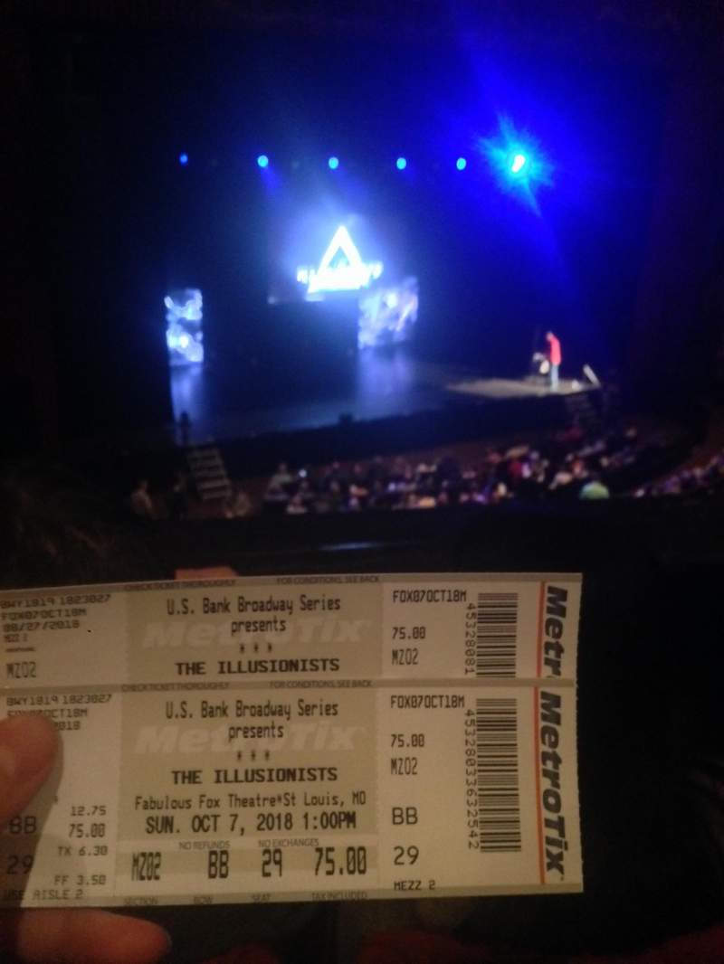 Seating view for The Fabulous Fox Theatre (St. Louis) Section Mezzanine 2 Row BB Seat 29