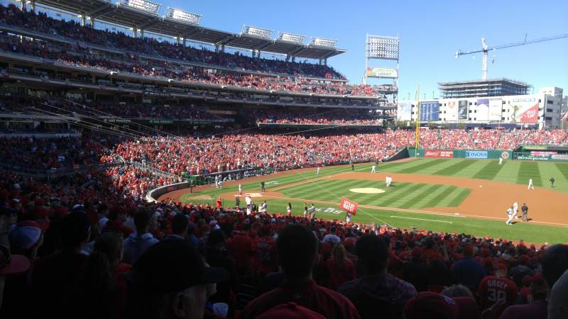 Seating view for Nationals Park Section 130 Row UU Seat 5