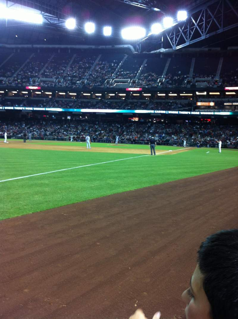 Seating view for Chase Field Section 133 Row 1 Seat 3