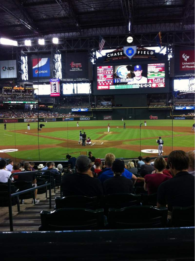 Seating view for Chase Field Section 121 Row 21 Seat 7