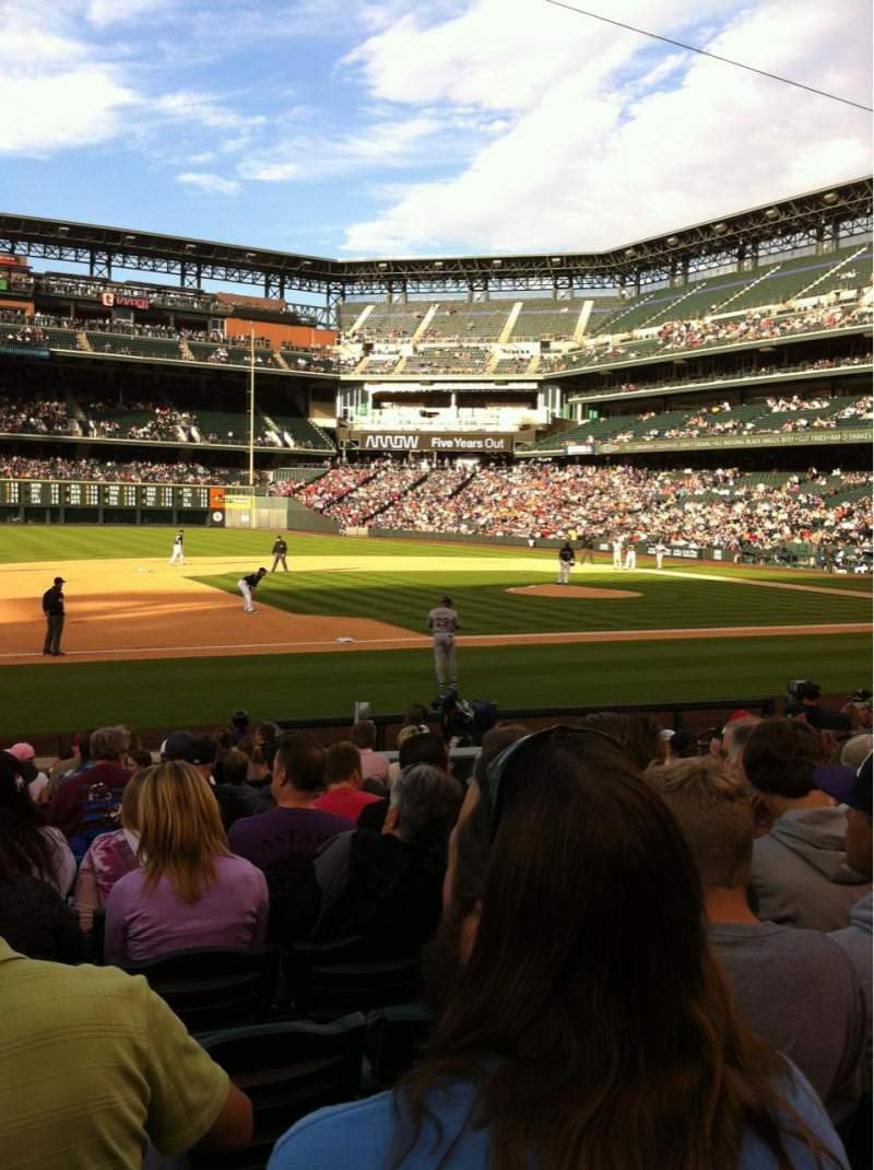 Seating view for Coors Field Section 140 Row 15 Seat 11