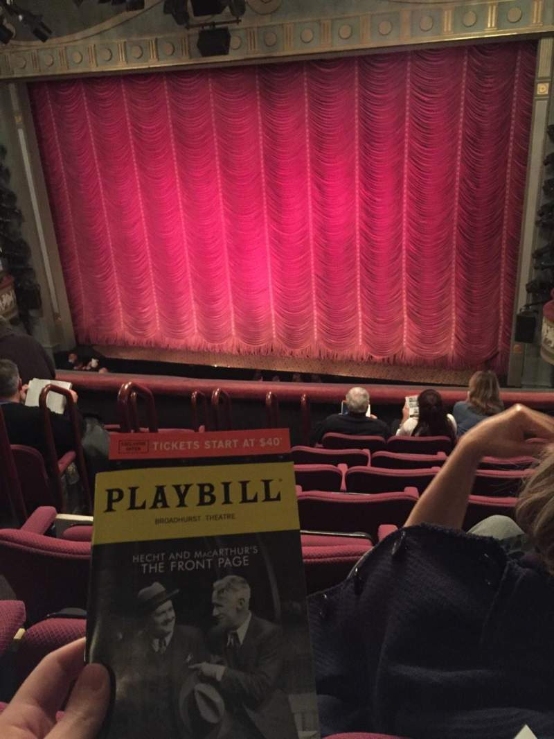 Seating view for Broadhurst Theatre Section Front Mezz Row F Seat 8
