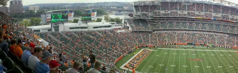 Seating view for Paul Brown Stadium Section 341 Row 27 Seat 12