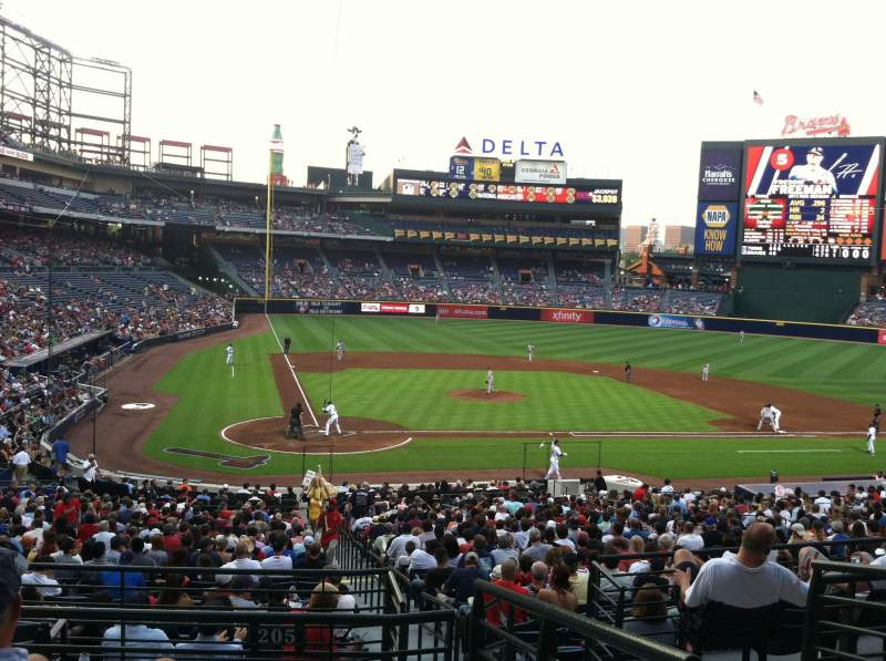 Seating view for Turner Field Section 205 Row 4 Seat 2