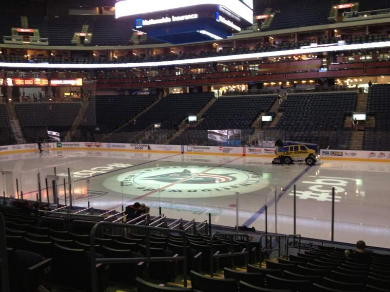 Seating view for Nationwide Arena Section 102 Row Q Seat 17