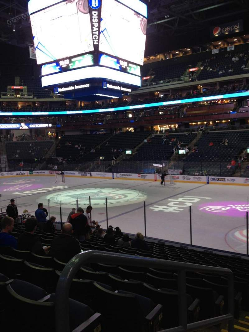 Seating view for Nationwide Arena Section 101 Row R Seat 26
