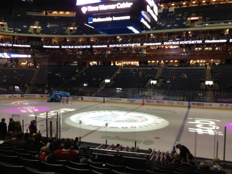 Seating view for Nationwide Arena Section 103 Row Q Seat 2