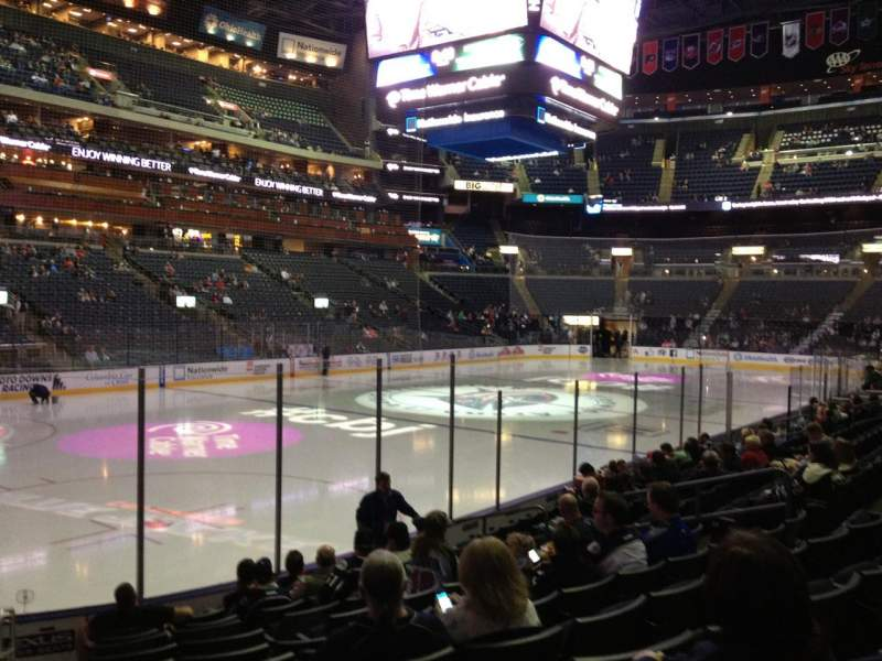 Seating view for Nationwide Arena Section 106 Row L Seat 16