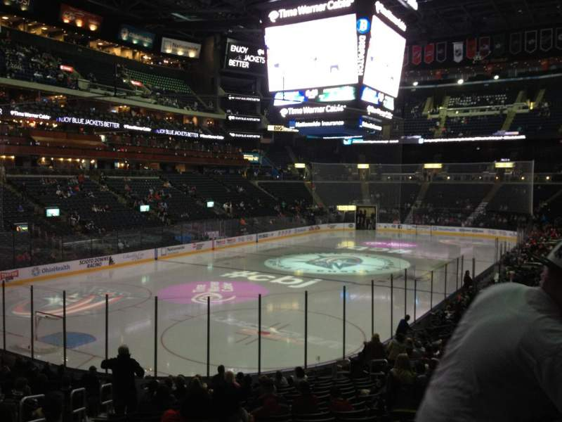 Seating view for Nationwide Arena Section 107 Row U Seat 17
