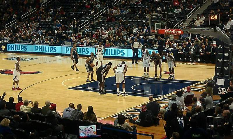 Seating view for Philips Arena Section 101 Row Q Seat 13