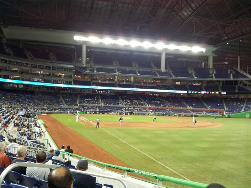 Seating view for Marlins Park Section 2 Row 1 Seat 6