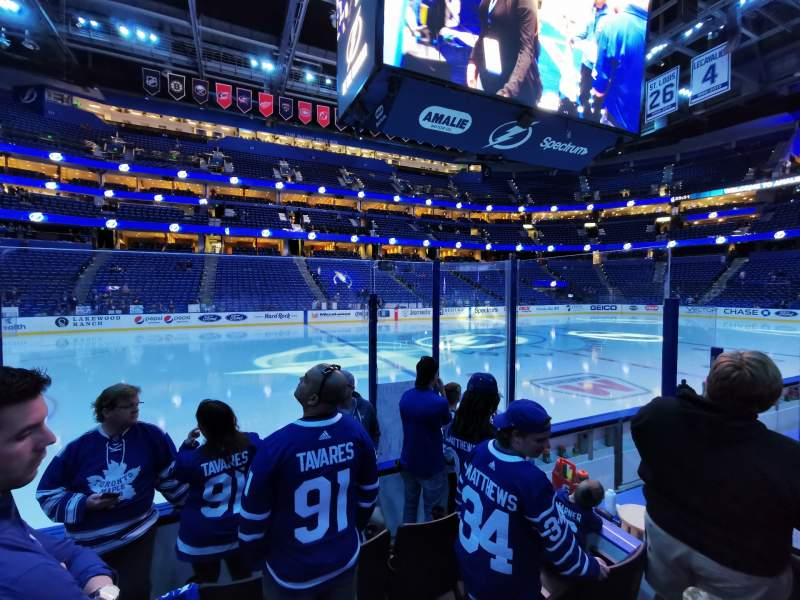 Seating view for Amalie Arena Section 102 Row D Seat 15