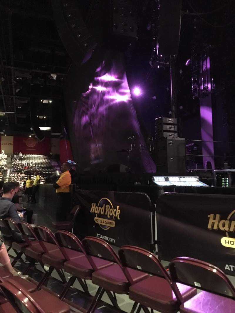 Seating view for Hard Rock Live at Etess Arena Section 101 Row C Seat 9