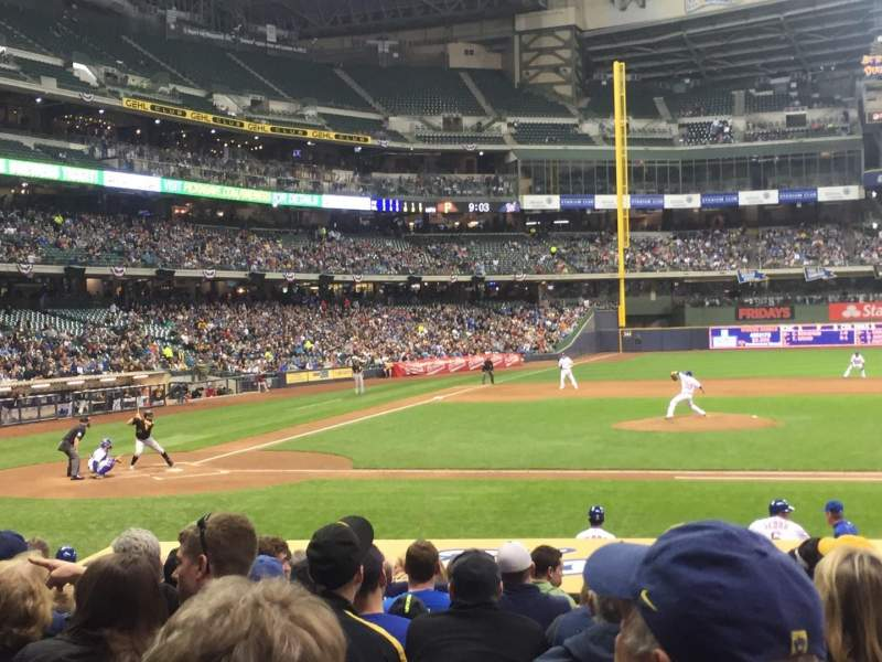 Seating view for Miller Park Section 114 Row 16 Seat 10
