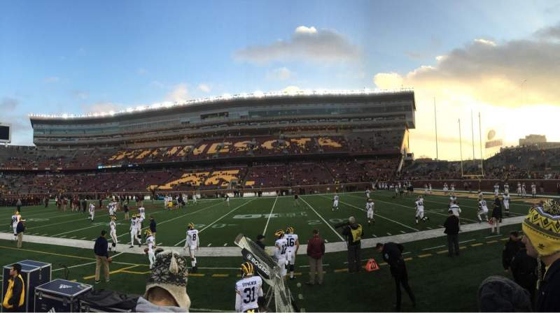 Seating view for TCF Bank Stadium Section 112 Row 2 Seat 3