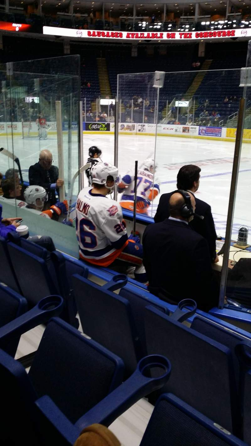 Seating view for Webster Bank Arena Section 105 Row A