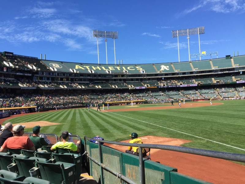 Seating view for Oakland Alameda Coliseum Section 104 Row 6 Seat 13