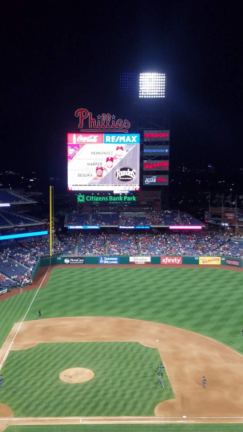Seating view for Citizens Bank Park Section 416 Row 7 Seat 5