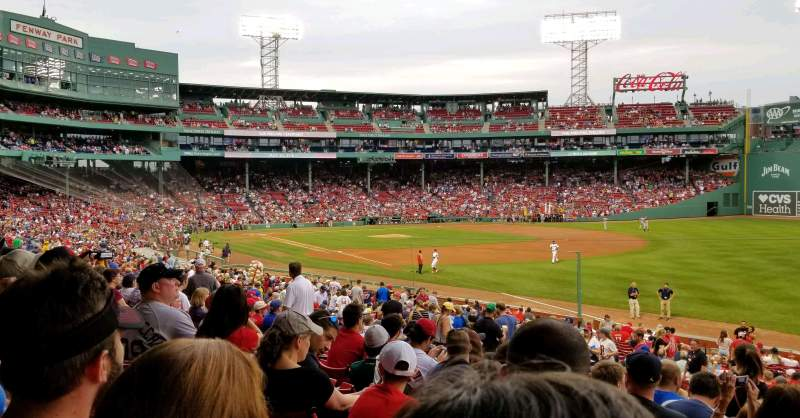 Seating view for Fenway Park Section Grandstand 9 Row 1 Seat 2