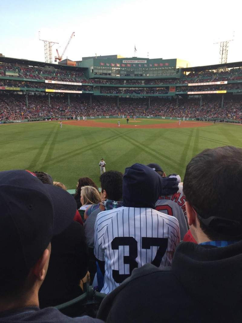 Seating view for Fenway park Section Bleacher 34 Row 6 Seat 12