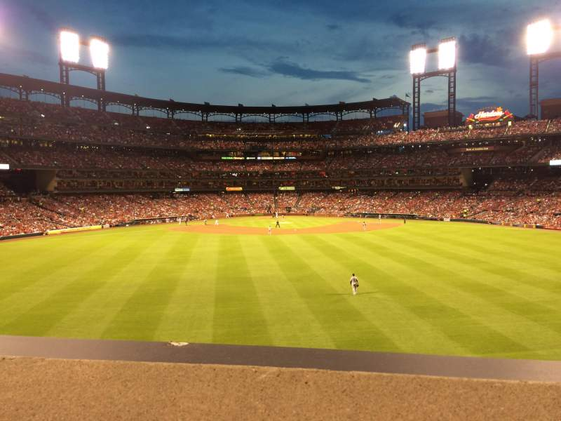 Seating view for Busch Stadium Section Coca-Cola Scoreboard Patio Row 1 Seat 53
