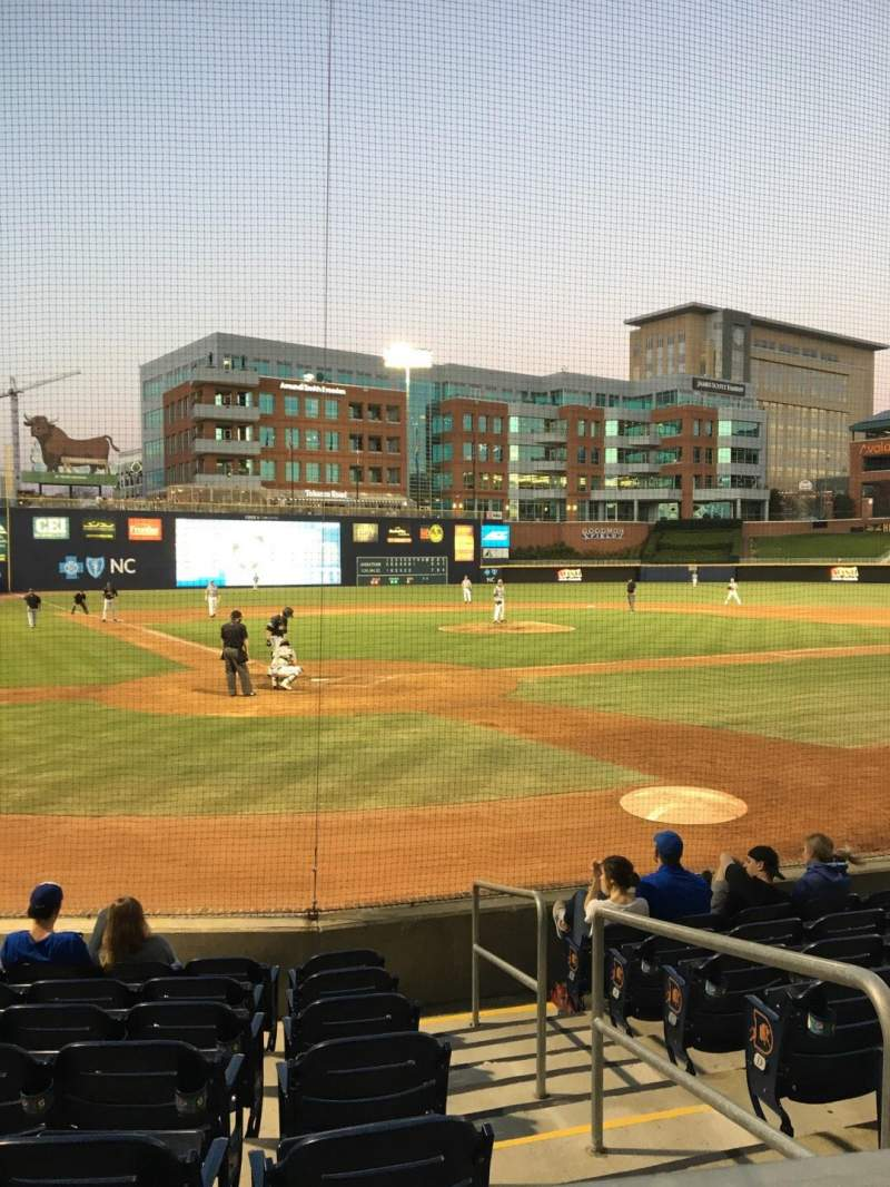 Seating view for Durham Bulls Athletic Park Section 102 Row F Seat 4