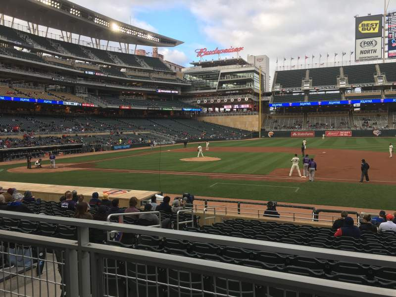Seating view for Target Field Section 108 Row 2 Seat 5