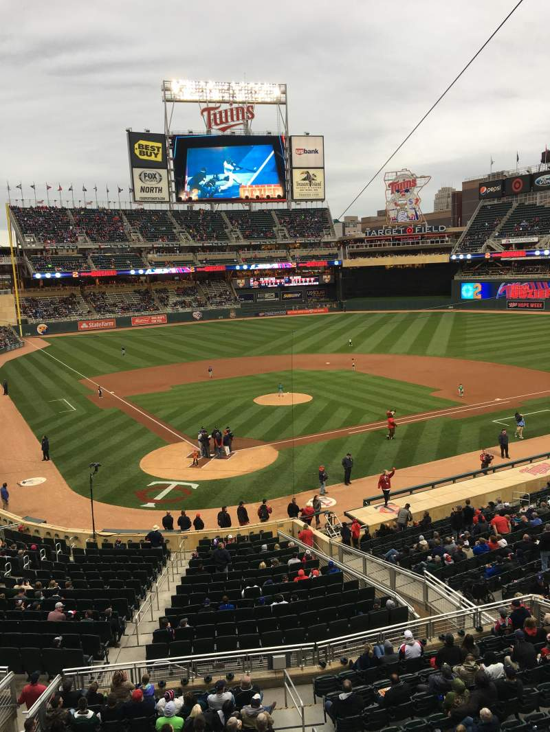 Seating view for Target Field Section F Row 1 Seat 7