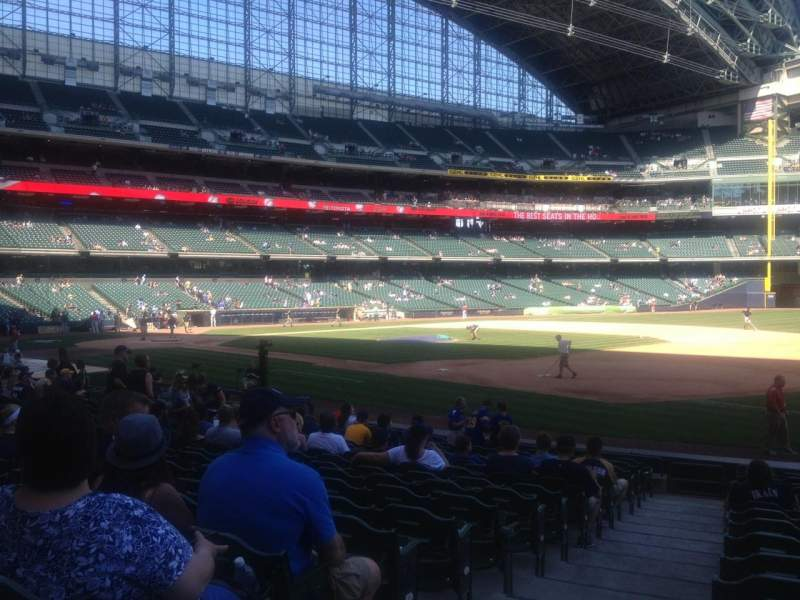 Seating view for Miller Park Section 110 Row 17 Seat 1