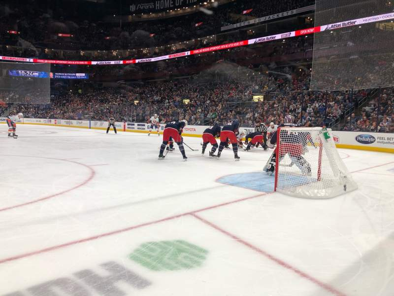 Seating view for Nationwide Arena Section 121 Row A Seat 5