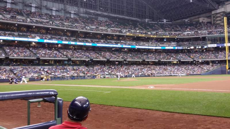 Seating view for Miller Park Section 111 Row 1 Seat 1