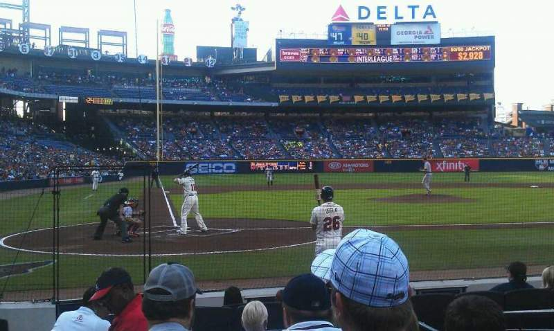 Seating view for Turner Field Section 105R Row 7 Seat 1