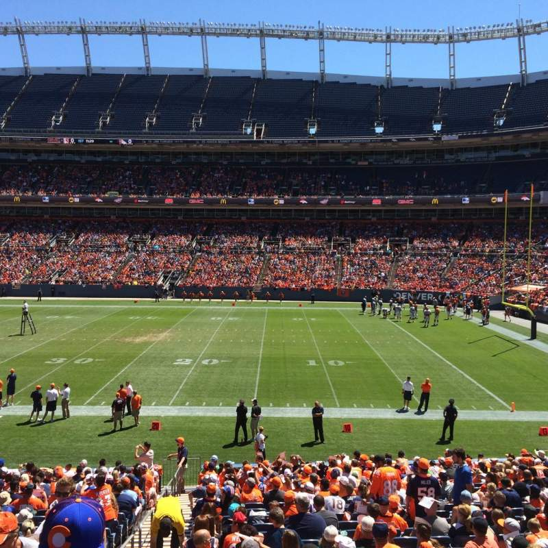 Seating view for Sports Authority Field at Mile High Section 102 Row 25 Seat 9