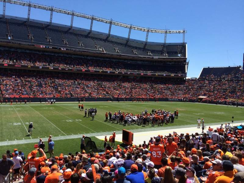 Seating view for Sports Authority Field at Mile High Section 107 Row 20 Seat 23