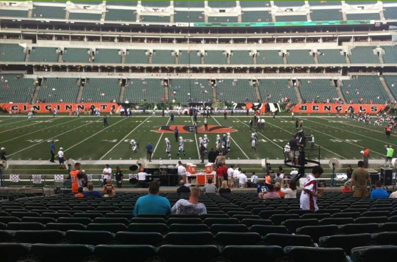 Seating view for Paul Brown Stadium Section 110 Row 21 Seat 19