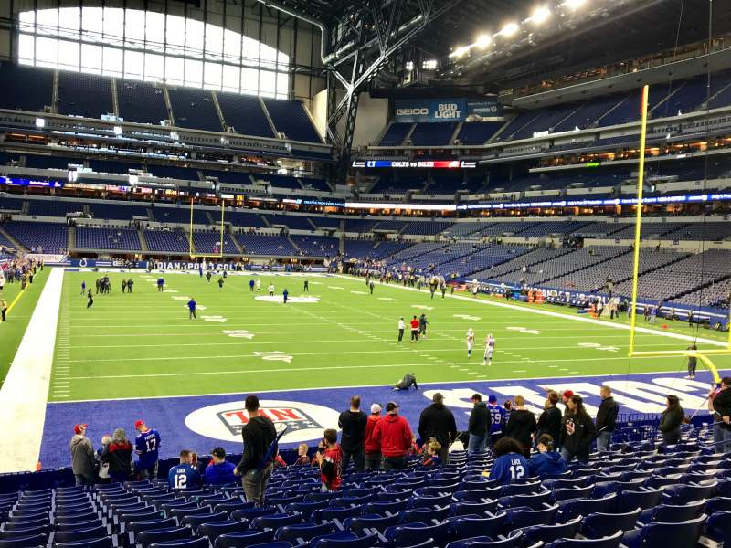 Seating view for Lucas Oil Stadium Section 102 Row 18 Seat 15