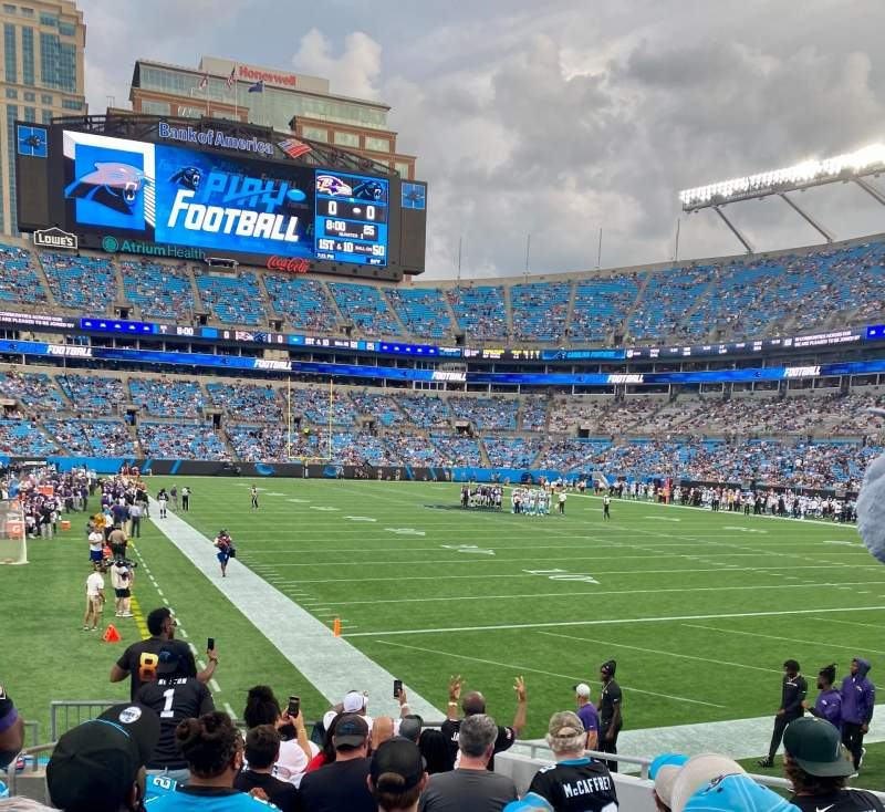 Seating view for Bank of America Stadium Section 104 Row 10 Seat 8